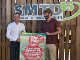 Affiche du big Bag Festival avec Monsieur Baubay Président du SMTD65 et Monsieur Soisson Président du Cartel Bigourdan